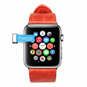 Кожаный ремешок Jisoncase Genuine для Apple Watch 38 - 40mm красный (с крепежом)