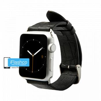 Кожаный ремешок Jisoncase Premium для Apple Watch 38 - 40mm черный (с крепежом)