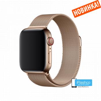 Металлический плетёный ремешок Apple Gold Milanese Loop для Apple Watch 38 - 40mm золотистый