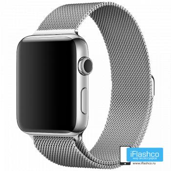 Металлический плетёный ремешок Apple Silver Milanese Loop для Apple Watch 42 - 44mm серебристый