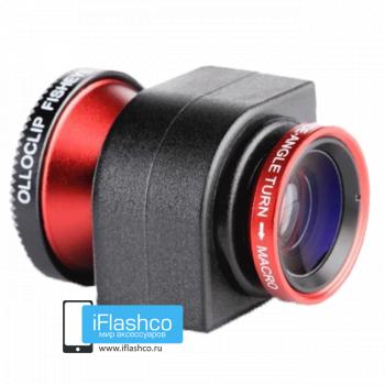 Объектив Olloclip Fisheye 3-в-1 для iPhone 4 / 4S красный