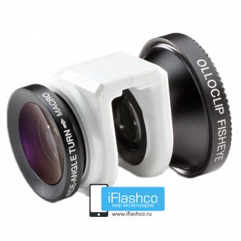 Объектив Olloclip Fisheye 3-в-1 для iPhone 5 / 5S белый