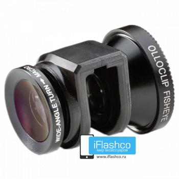 Объектив Olloclip Fisheye 3-в-1 для iPhone 5 / 5S черный