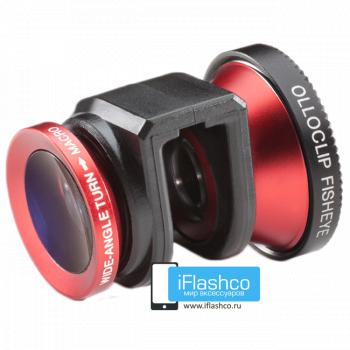 Объектив Olloclip Fisheye 3-в-1 для iPhone 5 / 5S красный