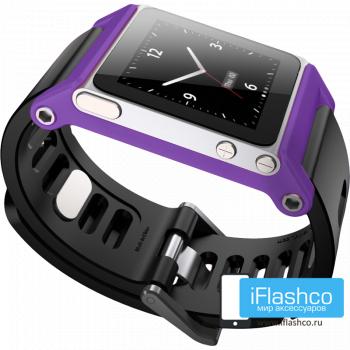 Ремешок / браслет LunaTik TikTok для iPod nano 6 фиолетовый / черный ремешок