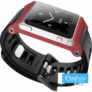 Ремешок / браслет LunaTik TikTok для iPod nano 6 красный / черный ремешок