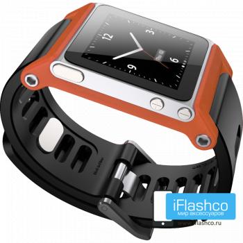 Ремешок / браслет LunaTik TikTok для iPod nano 6 оранжевый / черный ремешок