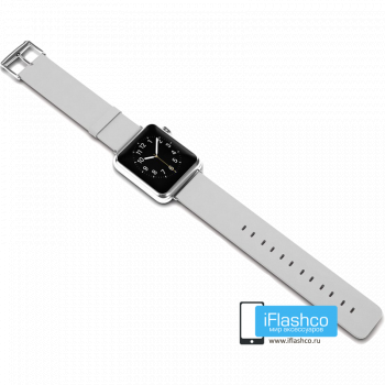 Силиконовый ремешок для Apple Watch 38 - 40mm белый (с крепежом)