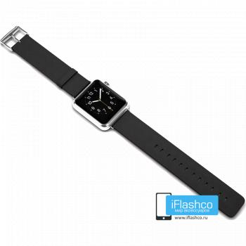 Силиконовый ремешок для Apple Watch 38 - 40mm черный (с крепежом)
