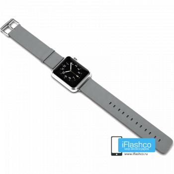 Силиконовый ремешок для Apple Watch 38 - 40mm серый (с крепежом)