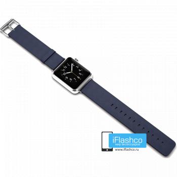 Силиконовый ремешок для Apple Watch 38 - 40mm синий (с крепежом)
