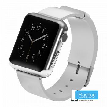 Силиконовый ремешок для Apple Watch 42 - 44mm белый (с крепежом)