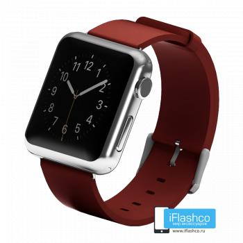 Силиконовый ремешок для Apple Watch 42 - 44mm бордовый (с крепежом)