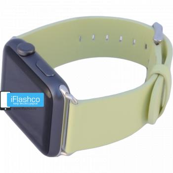 Силиконовый ремешок для Apple Watch 42 - 44mm салатовый (с крепежом)