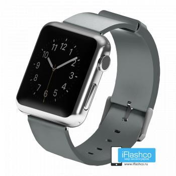 Силиконовый ремешок для Apple Watch 42 - 44mm серый (с крепежом)