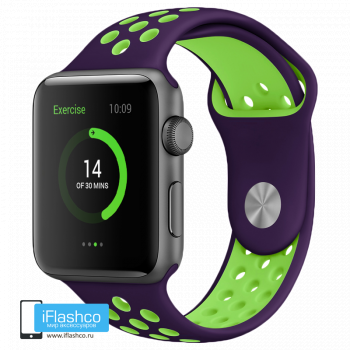Силиконовый ремешок Nike Sport Band Purple / Green 42 - 44 мм