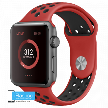 Силиконовый ремешок Nike Sport Band Red / Black 42 - 44 мм