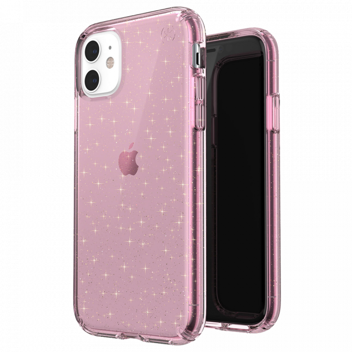 Ударопрочный чехол Speck Presidio Clear + Glitter Bella Pink with Gold Glitter для iPhone 11