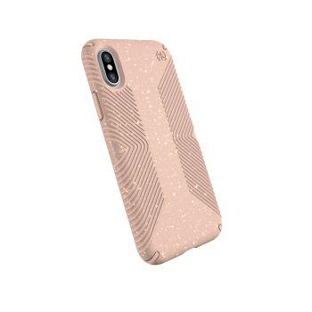 Чехол Speck Presidio Grip + Glitter для iPhone X/XS Bella Pink with Gold Glitter/Dahlia Peach