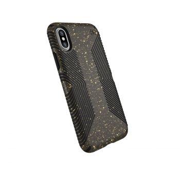 Чехол Speck Presidio Grip + Glitter для iPhone X/XS Obsidian Black with Gold Glitter/Black
