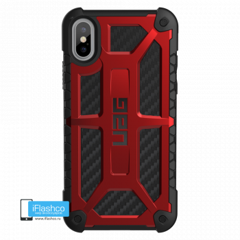 Чехол Urban Armor Gear Monarch Carbon Fiber Crimson для iPhone X/XS