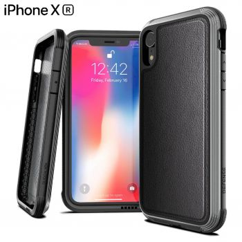 Чехол ударопрочный X-Doria Defense Lux Black Leather для iPhone XR