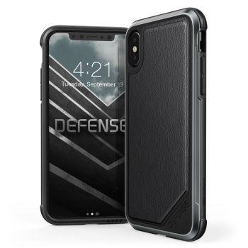 Чехол ударопрочный X-Doria Defense Lux Black Leather для iPhone X/XS